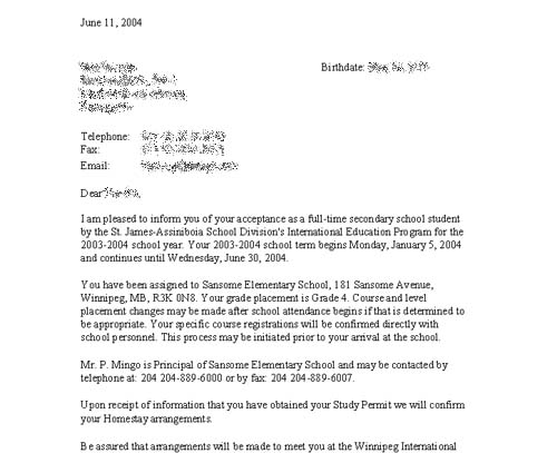 student placement letters